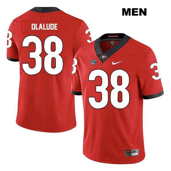 Mens Georgia Bulldogs Nike Red Legend Aaron Olalude Stitched Authentic no. 38 College Football Jersey - Aaron Olalude Jersey