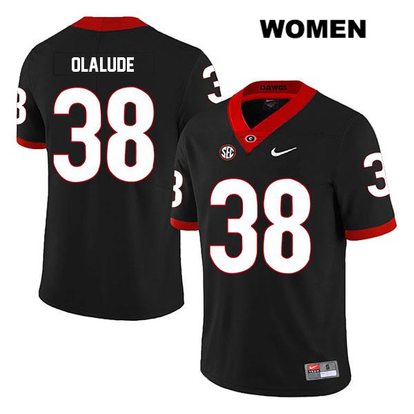 Stitched Womens Georgia Bulldogs Black Aaron Olalude Legend Authentic Nike no. 38 College Football Jersey - Aaron Olalude Jersey