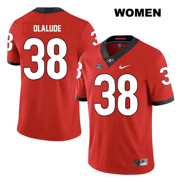 Womens Georgia Bulldogs Legend Red Aaron Olalude Authentic Stitched Nike no. 38 College Football Jersey - Aaron Olalude Jersey