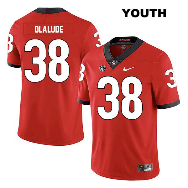 Youth Legend Georgia Bulldogs Red Aaron Olalude Nike Authentic Stitched no. 38 College Football Jersey - Aaron Olalude Jersey