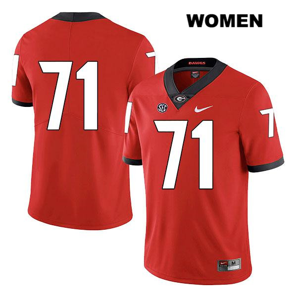 Legend Womens Georgia Bulldogs Stitched Red Andrew Thomas Authentic Nike no. 71 College Football Jersey - No Name - Andrew Thomas Jersey