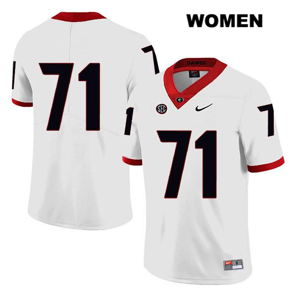 Legend Womens Georgia Bulldogs White Stitched Andrew Thomas Authentic Nike no. 71 College Football Jersey - No Name - Andrew Thomas Jersey