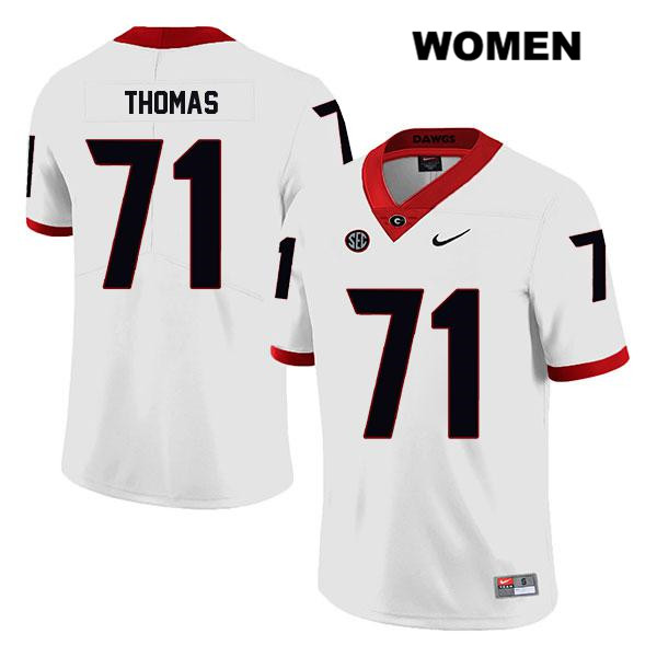 Nike Womens Legend Georgia Bulldogs Stitched White Andrew Thomas Authentic no. 71 College Football Jersey - Andrew Thomas Jersey