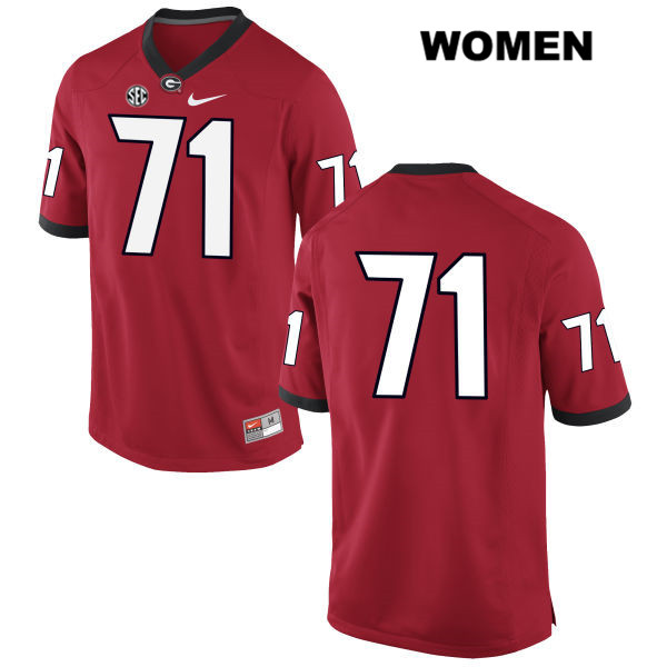 Womens Georgia Bulldogs Nike Stitched Red Andrew Thomas Authentic no. 71 College Football Jersey - No Name - Andrew Thomas Jersey