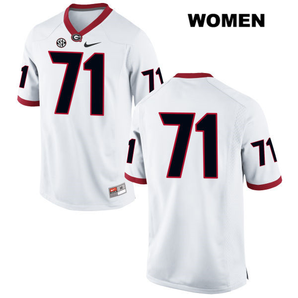 Womens Georgia Bulldogs White Nike Andrew Thomas Authentic Stitched no. 71 College Football Jersey - No Name - Andrew Thomas Jersey