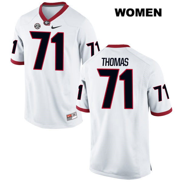 Womens Nike Georgia Bulldogs White Andrew Thomas Authentic Stitched no. 71 College Football Jersey - Andrew Thomas Jersey