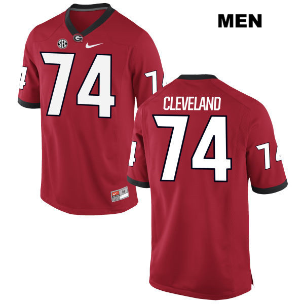 Mens Georgia Bulldogs Stitched Red Ben Cleveland Authentic Nike no. 74 College Football Jersey - Ben Cleveland Jersey