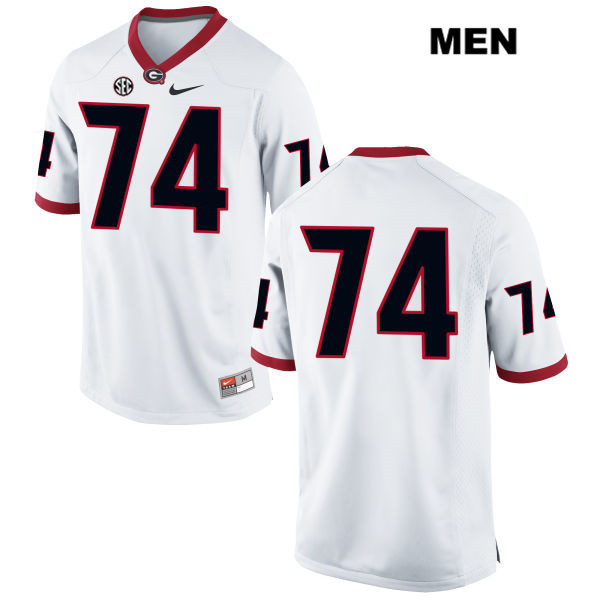 Mens Nike Georgia Bulldogs Stitched White Ben Cleveland Authentic no. 74 College Football Jersey - No Name - Ben Cleveland Jersey