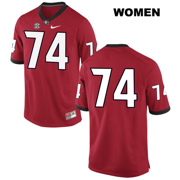 Womens Georgia Bulldogs Red Ben Cleveland Nike Authentic Stitched no. 74 College Football Jersey - No Name - Ben Cleveland Jersey