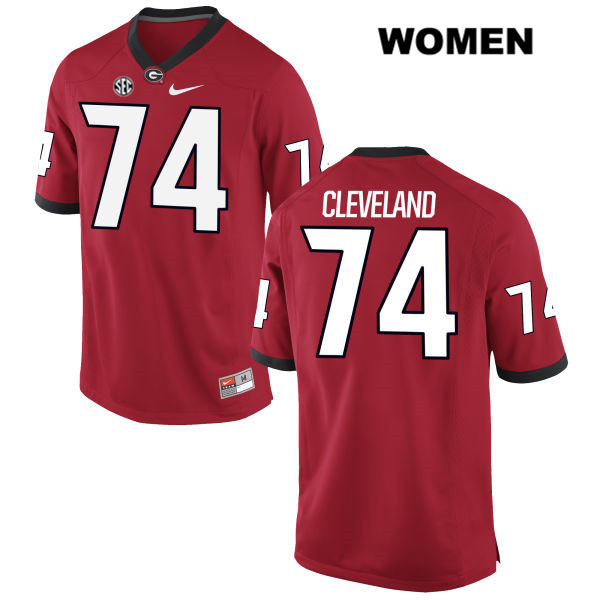 Womens Georgia Bulldogs Red Nike Ben Cleveland Stitched Authentic no. 74 College Football Jersey - Ben Cleveland Jersey