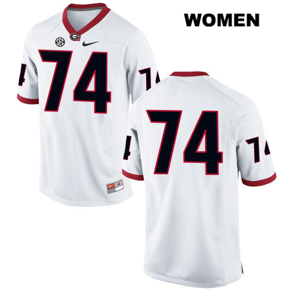 Stitched Womens Georgia Bulldogs Nike White Ben Cleveland Authentic no. 74 College Football Jersey - No Name - Ben Cleveland Jersey