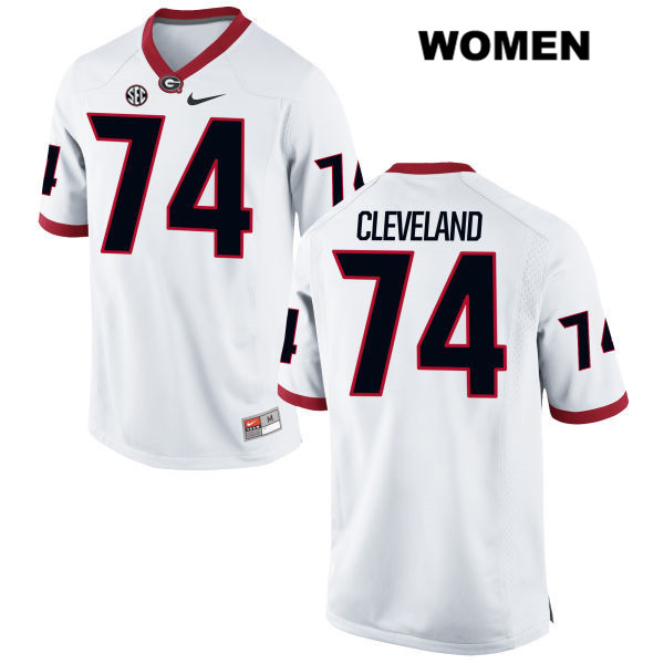 Womens Georgia Bulldogs Nike Stitched White Ben Cleveland Authentic no. 74 College Football Jersey - Ben Cleveland Jersey