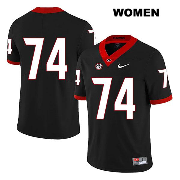 Womens Nike Georgia Bulldogs Black Stitched Ben Cleveland Authentic Legend no. 74 College Football Jersey - No Name - Ben Cleveland Jersey