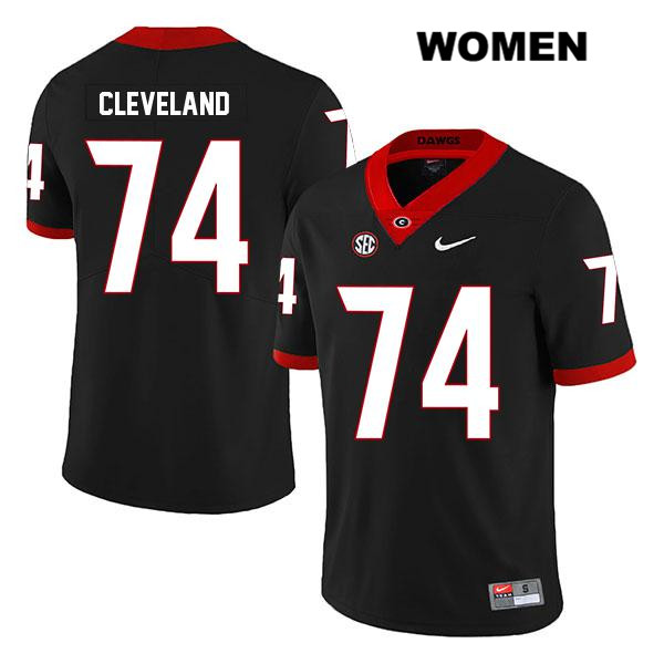 Womens Georgia Bulldogs Black Stitched Nike Ben Cleveland Authentic Legend no. 74 College Football Jersey - Ben Cleveland Jersey