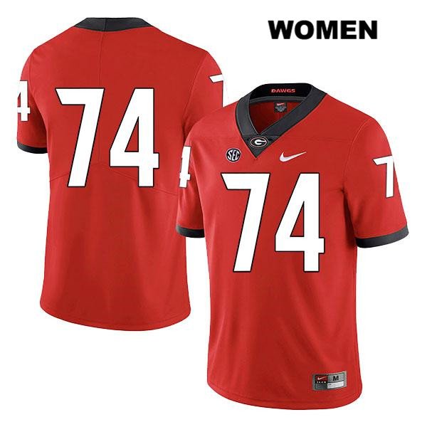 Womens Nike Georgia Bulldogs Legend Red Ben Cleveland Authentic Stitched no. 74 College Football Jersey - No Name - Ben Cleveland Jersey