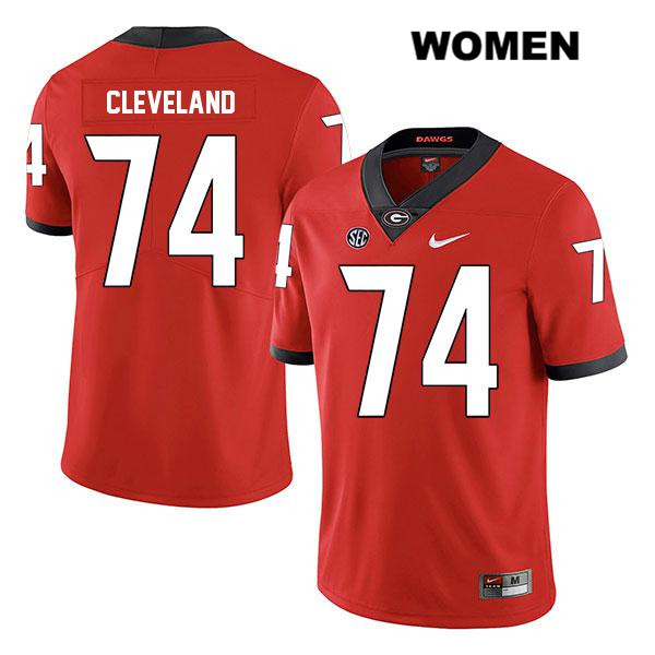 Nike Womens Stitched Georgia Bulldogs Legend Red Ben Cleveland Authentic no. 74 College Football Jersey - Ben Cleveland Jersey