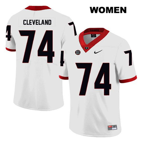 Nike Womens Georgia Bulldogs Legend White Ben Cleveland Stitched Authentic no. 74 College Football Jersey - Ben Cleveland Jersey