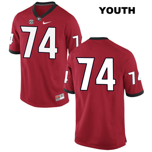 Youth Nike Georgia Bulldogs Red Stitched Ben Cleveland Authentic no. 74 College Football Jersey - No Name - Ben Cleveland Jersey