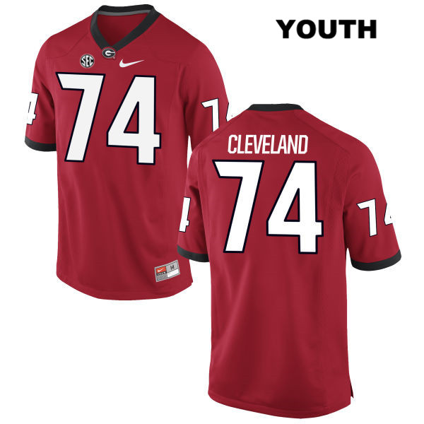Youth Georgia Bulldogs Red Ben Cleveland Authentic Nike Stitched no. 74 College Football Jersey - Ben Cleveland Jersey