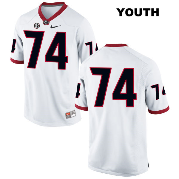 Stitched Youth Georgia Bulldogs White Ben Cleveland Authentic Nike no. 74 College Football Jersey - No Name - Ben Cleveland Jersey