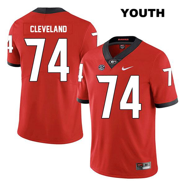 Nike Youth Georgia Bulldogs Legend Red Stitched Ben Cleveland Authentic no. 74 College Football Jersey - Ben Cleveland Jersey