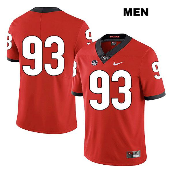 Mens Georgia Bulldogs Nike Red Bill Rubright Stitched Authentic Legend no. 93 College Football Jersey - No Name - Bill Rubright Jersey