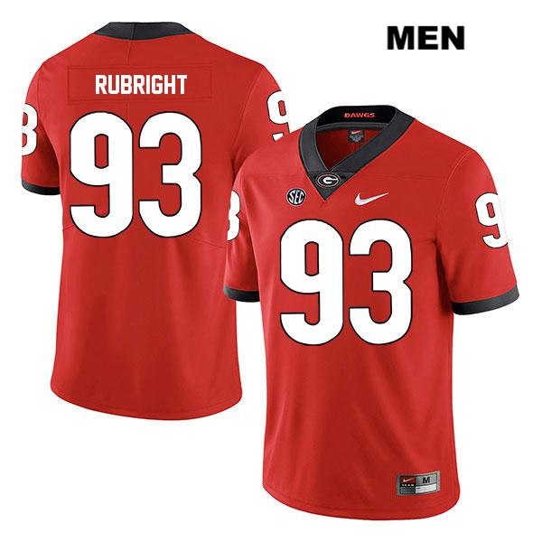 Mens Legend Georgia Bulldogs Stitched Red Bill Rubright Nike Authentic no. 93 College Football Jersey - Bill Rubright Jersey
