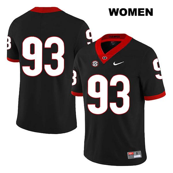 Womens Stitched Georgia Bulldogs Black Legend Nike Bill Rubright Authentic no. 93 College Football Jersey - No Name