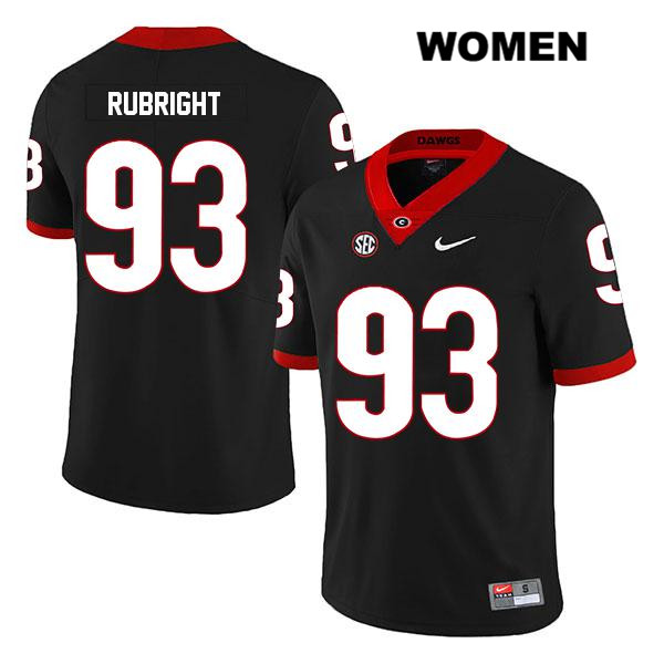 Stitched Womens Georgia Bulldogs Legend Black Bill Rubright Authentic Nike no. 93 College Football Jersey - Bill Rubright Jersey