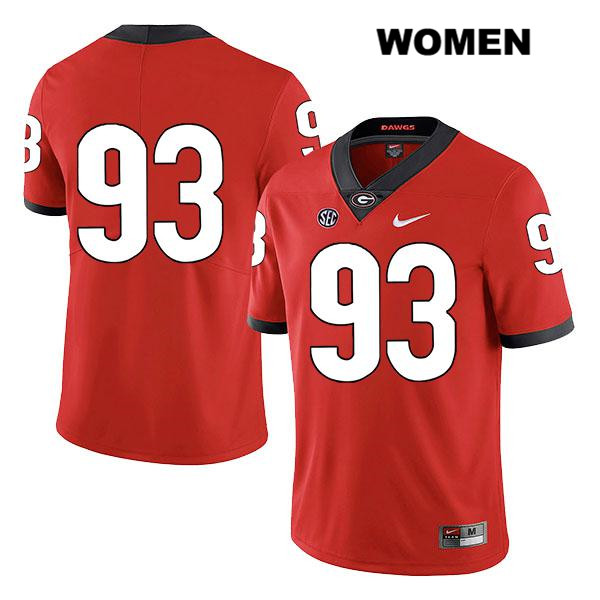 Womens Legend Georgia Bulldogs Red Nike Bill Rubright Stitched Authentic no. 93 College Football Jersey - No Name - Bill Rubright Jersey