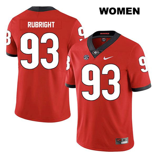 Womens Legend Georgia Bulldogs Nike Red Bill Rubright Authentic Stitched no. 93 College Football Jersey - Bill Rubright Jersey