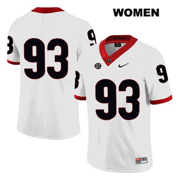 Womens Georgia Bulldogs White Bill Rubright Legend Authentic Stitched Nike no. 93 College Football Jersey - No Name