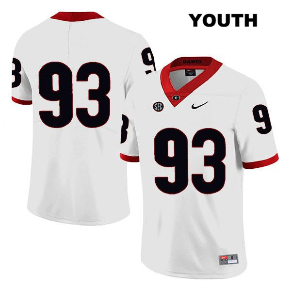 Youth Georgia Bulldogs White Bill Rubright Stitched Legend Authentic Nike no. 93 College Football Jersey - No Name - Bill Rubright Jersey