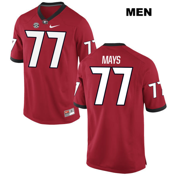 Mens Georgia Bulldogs Nike Red Cade Mays Stitched Authentic no. 77 College Football Jersey - Cade Mays Jersey