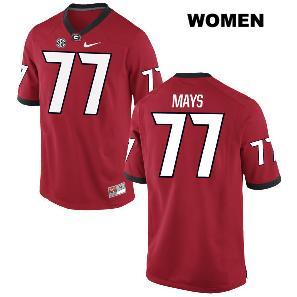 Womens Georgia Bulldogs Stitched Red Cade Mays Nike Authentic no. 77 College Football Jersey - Cade Mays Jersey