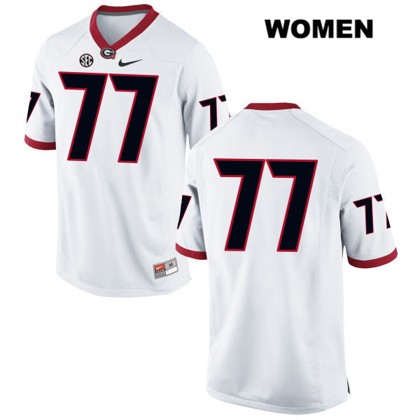 Womens Stitched Georgia Bulldogs White Cade Mays Authentic Nike no. 77 College Football Jersey - No Name - Cade Mays Jersey