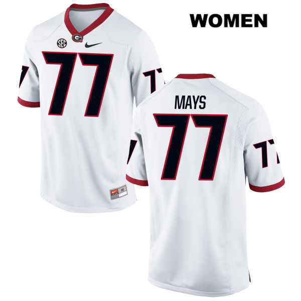 Womens Nike Georgia Bulldogs White Cade Mays Authentic Stitched no. 77 College Football Jersey - Cade Mays Jersey