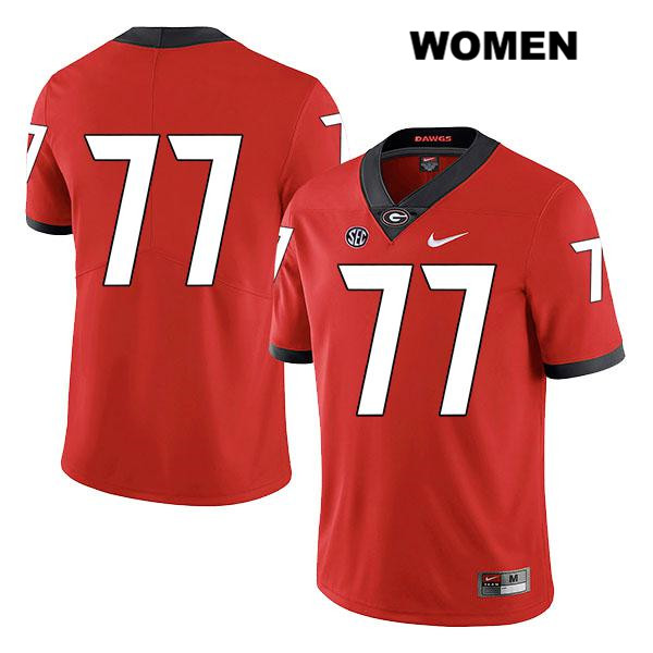 Nike Womens Georgia Bulldogs Stitched Red Cade Mays Legend Authentic no. 77 College Football Jersey - No Name - Cade Mays Jersey