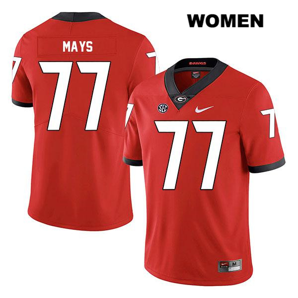 Womens Stitched Nike Georgia Bulldogs Legend Red Cade Mays Authentic no. 77 College Football Jersey - Cade Mays Jersey