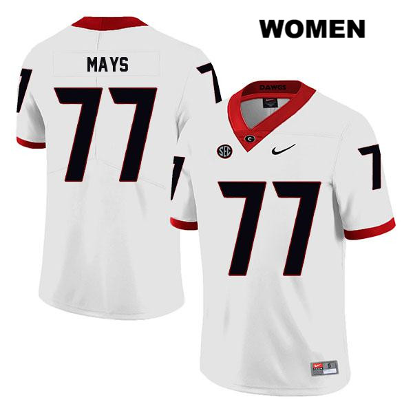 Stitched Womens Georgia Bulldogs Legend White Cade Mays Nike Authentic no. 77 College Football Jersey - Cade Mays Jersey