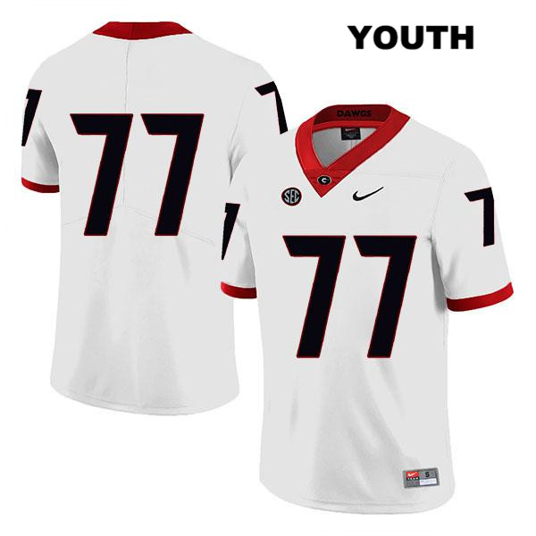 Youth Legend Georgia Bulldogs Nike White Cade Mays Stitched Authentic no. 77 College Football Jersey - No Name - Cade Mays Jersey