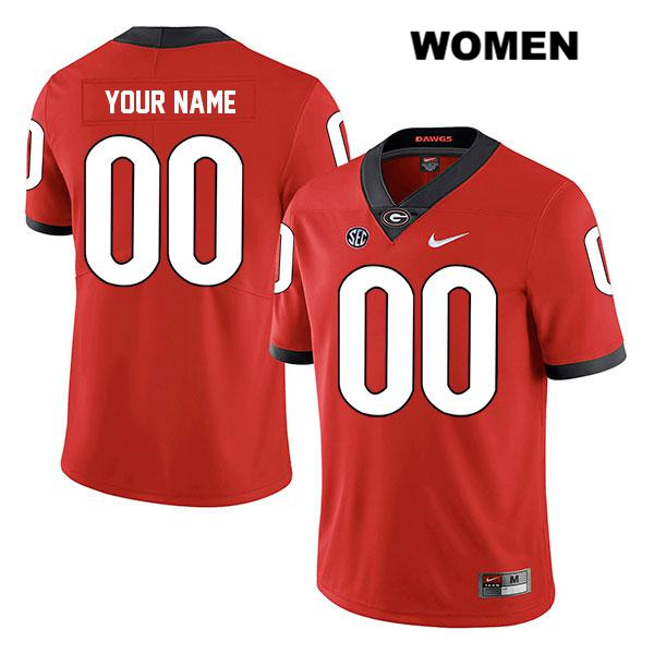 Womens Legend Georgia Bulldogs Red Customize Stitched Authentic Nike customize College Football Jersey - Customize Jersey