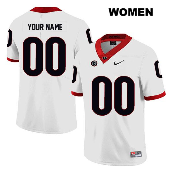 Womens Nike Georgia Bulldogs Stitched White Legend Customize Authentic customize College Football Jersey - Customize Jersey