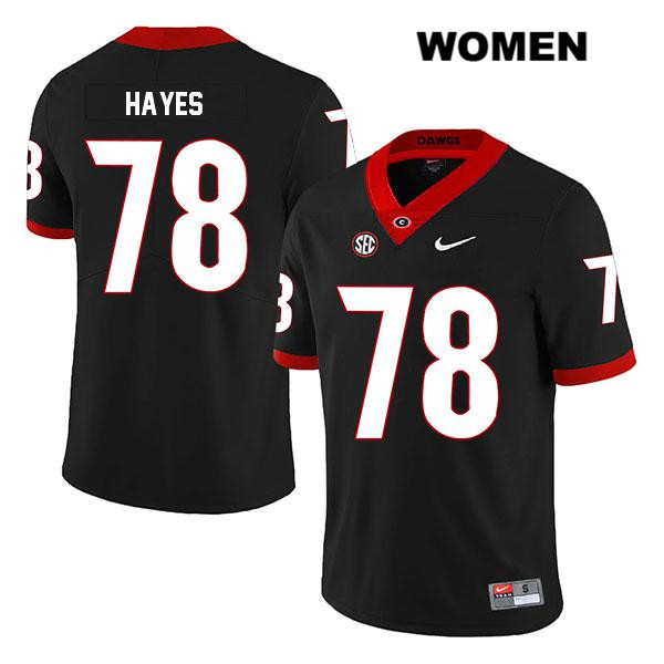 Womens Georgia Bulldogs Legend Nike Black D'Marcus Hayes Authentic Stitched no. 78 College Football Jersey