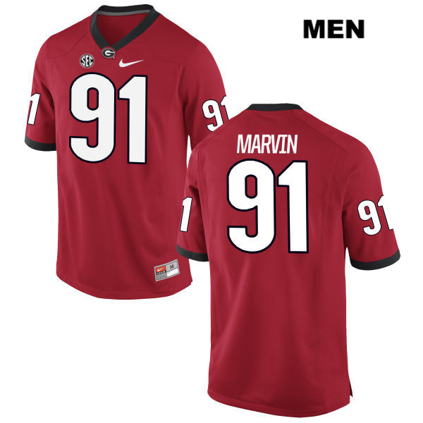 Stitched Mens Georgia Bulldogs Nike Red David Marvin Authentic no. 91 College Football Jersey - David Marvin Jersey