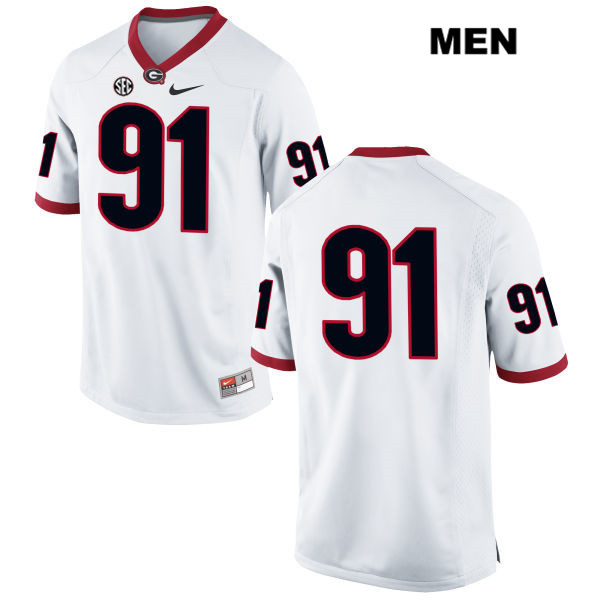 Mens Georgia Bulldogs Stitched White David Marvin Authentic Nike no. 91 College Football Jersey - No Name - David Marvin Jersey