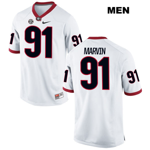 Mens Stitched Georgia Bulldogs White David Marvin Nike Authentic no. 91 College Football Jersey - David Marvin Jersey