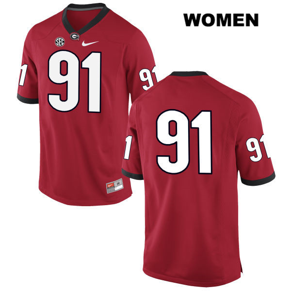 Womens Stitched Georgia Bulldogs Nike Red David Marvin Authentic no. 91 College Football Jersey - No Name - David Marvin Jersey