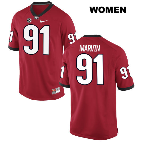 Womens Stitched Georgia Bulldogs Red Nike David Marvin Authentic no. 91 College Football Jersey - David Marvin Jersey