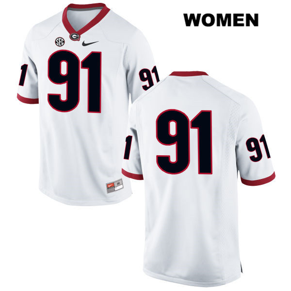 Womens Stitched Georgia Bulldogs White Nike David Marvin Authentic no. 91 College Football Jersey - No Name - David Marvin Jersey